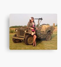 Christine with a 1944 Willys MB Metal Print