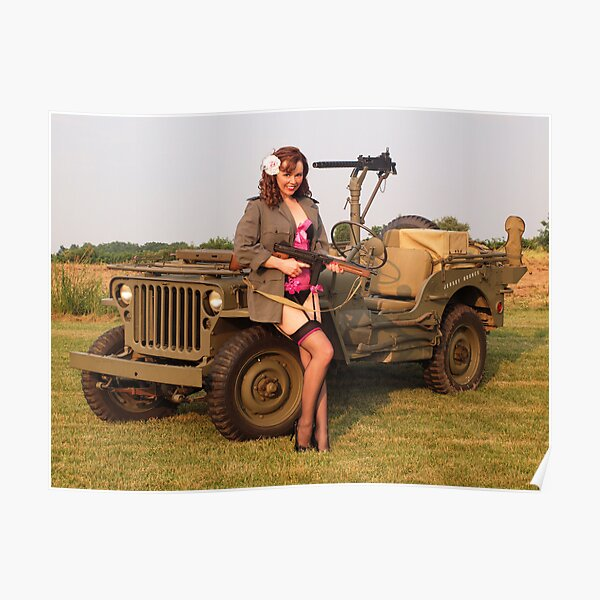 Christine with a 1944 Willys MB Poster