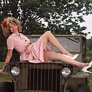 Amanda on a 1941 Willys MB Slat Grille by LibertyCalendar