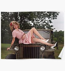 Amanda on a 1941 Willys MB Slat Grille Poster