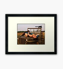 Brunette on a 1944 Willys MB Jeep Framed Print