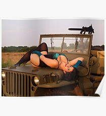 Brunette on a 1944 Willys MB Jeep Poster