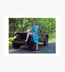 Dori Jean with a 1941 Willys MB Art Print