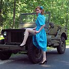 Dori Jean with a 1941 Willys MB by LibertyCalendar