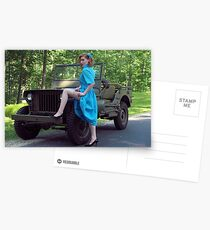 Dori Jean with a 1941 Willys MB Postcards