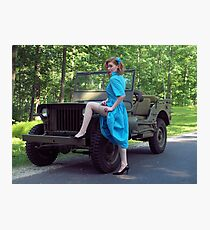 Dori Jean with a 1941 Willys MB Photographic Print
