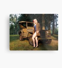 Andie with a 1941 Willys MB Metal Print