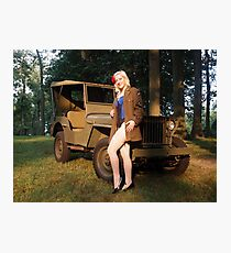 Andie with a 1941 Willys MB Photographic Print