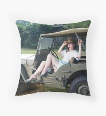 Tesla Tease in a WWII Willys MB Throw Pillow