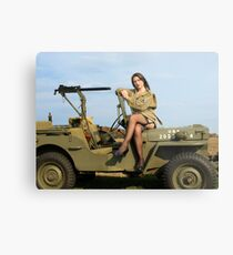 Ashley on a '44 Willys MB Metal Print
