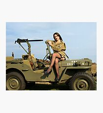 Ashley on a '44 Willys MB Photographic Print