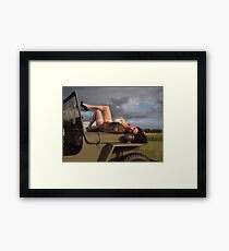 Ivette on a 1944 Willys MB Framed Print