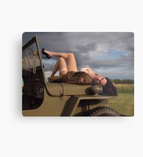 Ivette on a 1944 Willys MB Metal Print