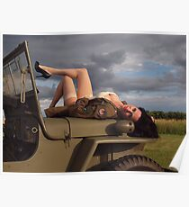 Ivette on a 1944 Willys MB Poster