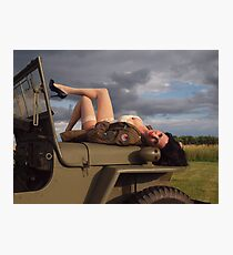 Ivette on a 1944 Willys MB Photographic Print