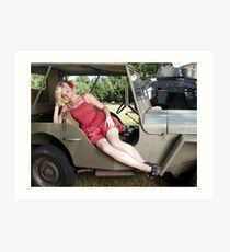 Brittany in a 1941 Willys MB Art Print