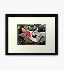 Brittany in a 1941 Willys MB Framed Print
