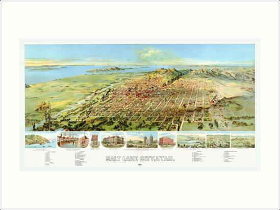 1891 Map of Salt Lake City by Mingjai