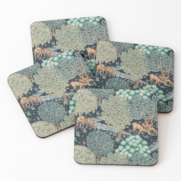 FOREST ANIMALS, DEERS BY A BROOK Blue Green Floral Coasters (Set of 4)