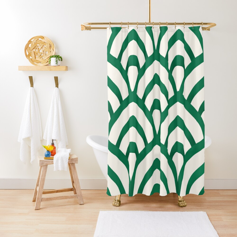 Emerald Green and white Pattern Shower Curtain