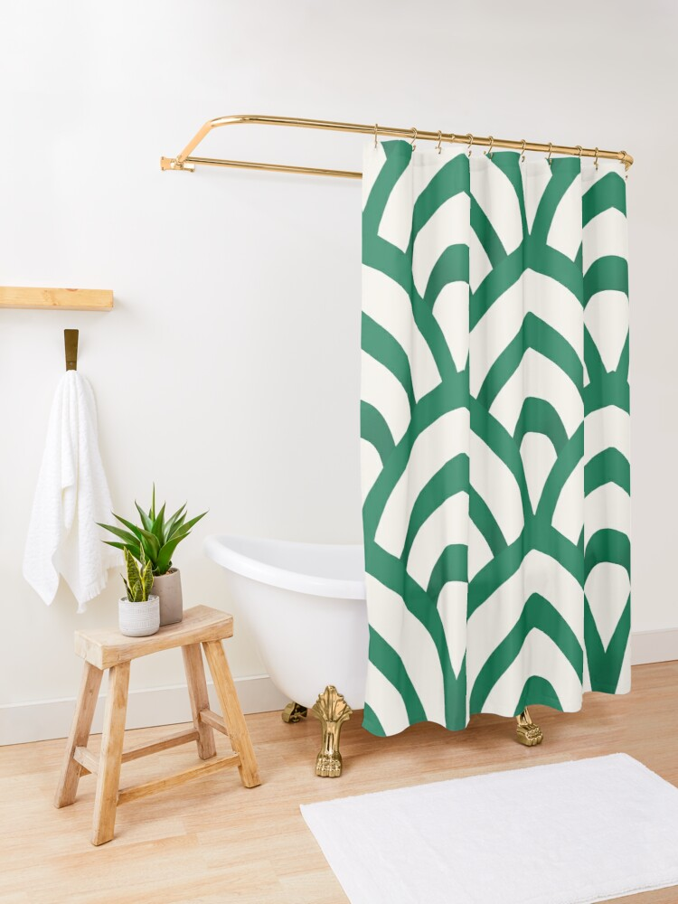 Alternate view of Emerald Green and white Pattern Shower Curtain