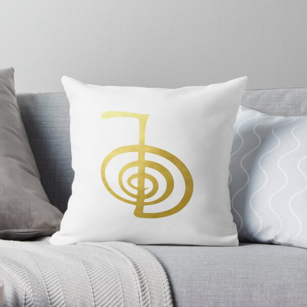 Reiki healing CHO KU REI The Power Symbol gold spiritual element Throw Pillow
