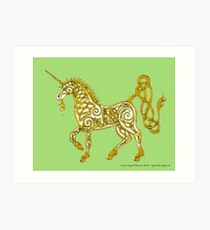 Celtic Unicorn #4 Golden Art Print
