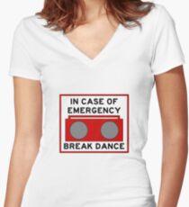 In Case Of Emergency Break Dance (light shirts) Women's Fitted V-Neck T-Shirt