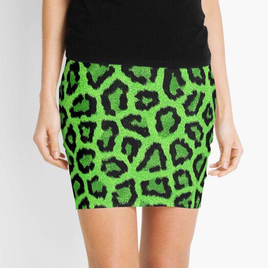 Green Leopard Animal Print Mini Skirt