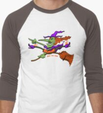 Crazy Witch Riding her Broomstick Men's Baseball ¾ T-Shirt