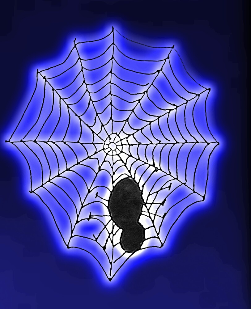 Spooky spider and web, watercolor by Anna  Lewis, blind artist