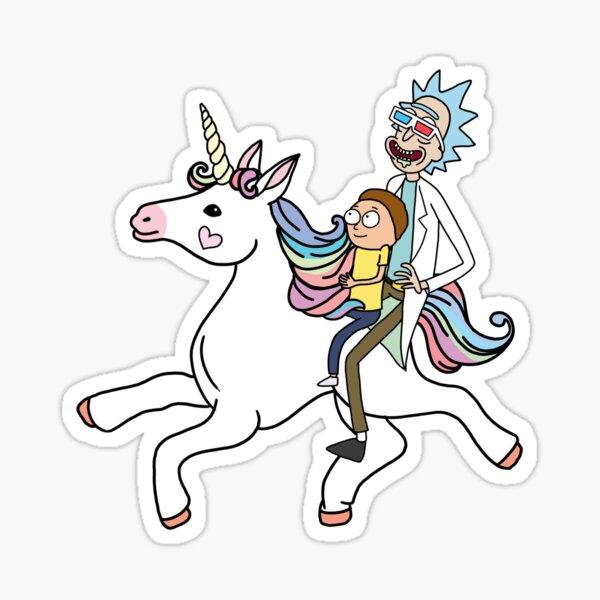 Rick And Morty Riding A Unicorn Sticker