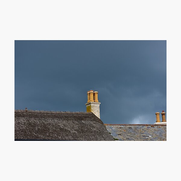 Chimneys Thatched Roof Moody Grey Clouds photo Photographic Print