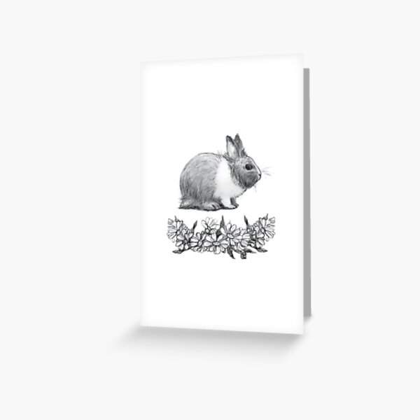 Fluffy the rabbit. Pencil drawing. Greeting Card