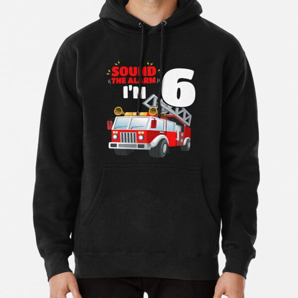Kids Fire Truck 6th Birthday 6 Years Old FireFighter Pullover Hoodie