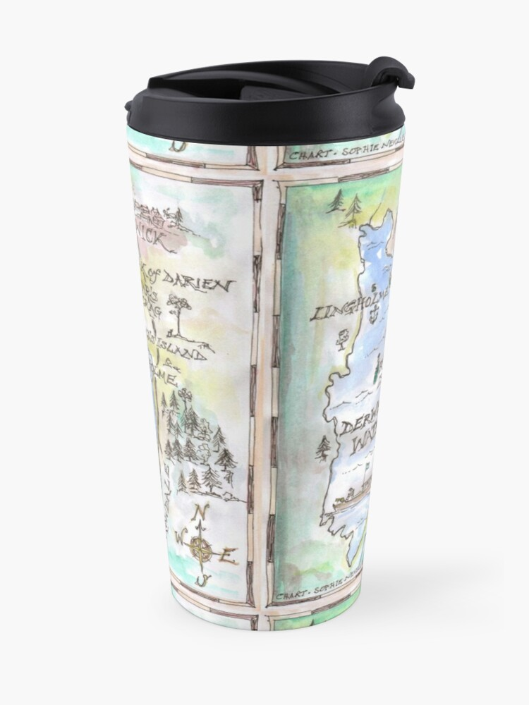 Alternate view of Swallows and Amazons map of Derwentwater by Sophie Neville -  Travel Mug