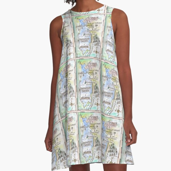 Swallows and Amazons map of Derwentwater by Sophie Neville -  A-Line Dress