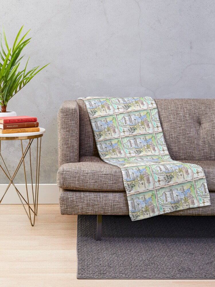 Alternate view of Swallows and Amazons map of Derwentwater by Sophie Neville -  Throw Blanket