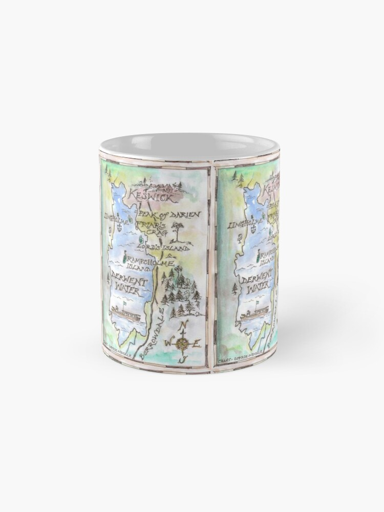 Alternate view of Swallows and Amazons map of Derwentwater by Sophie Neville -  Mug
