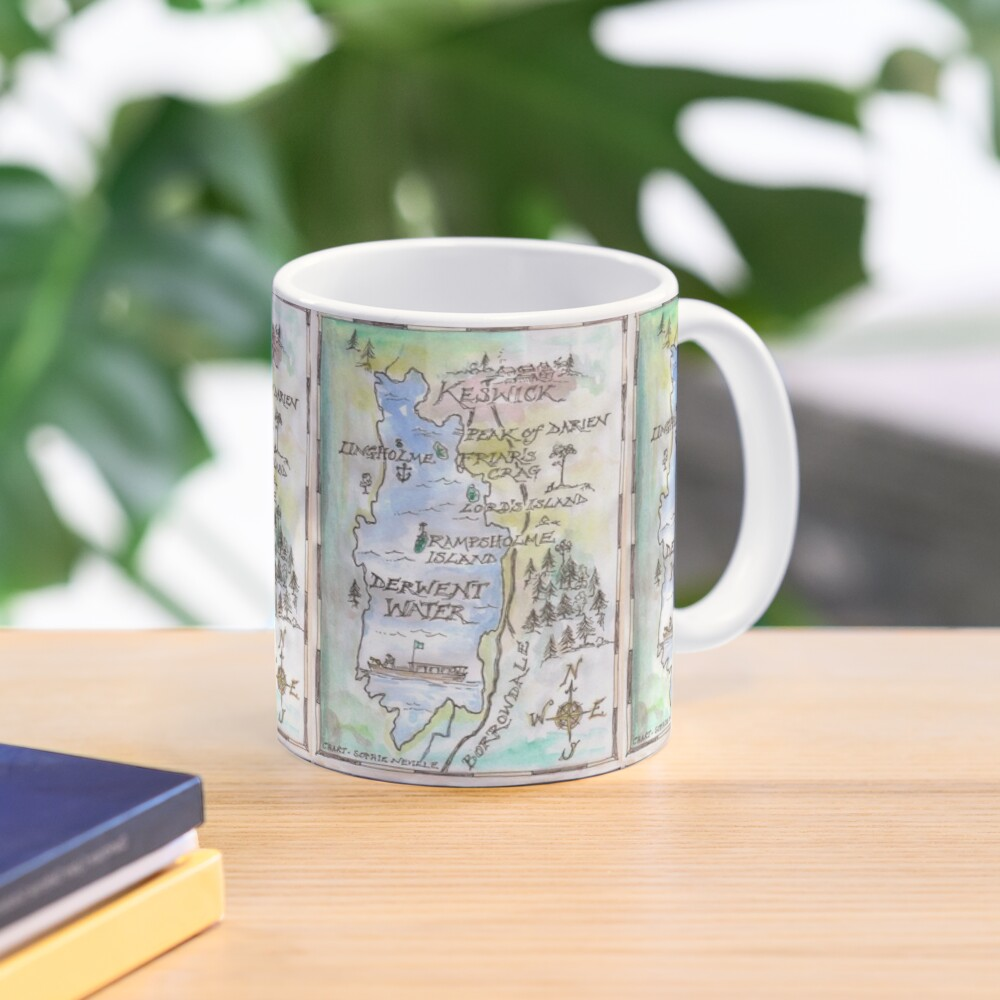 Swallows and Amazons map of Derwentwater by Sophie Neville -  Mug