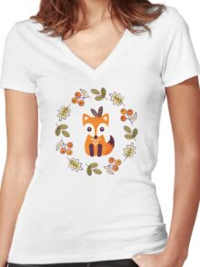 Little Fox with Autumn Berries Women's Fitted V-Neck T-Shirt