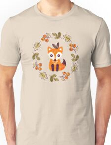 Little Fox with Autumn Berries Unisex T-Shirt
