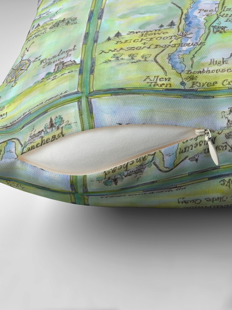 Alternate view of Swallows and Amazons map of Coniston Water -  Throw Pillow