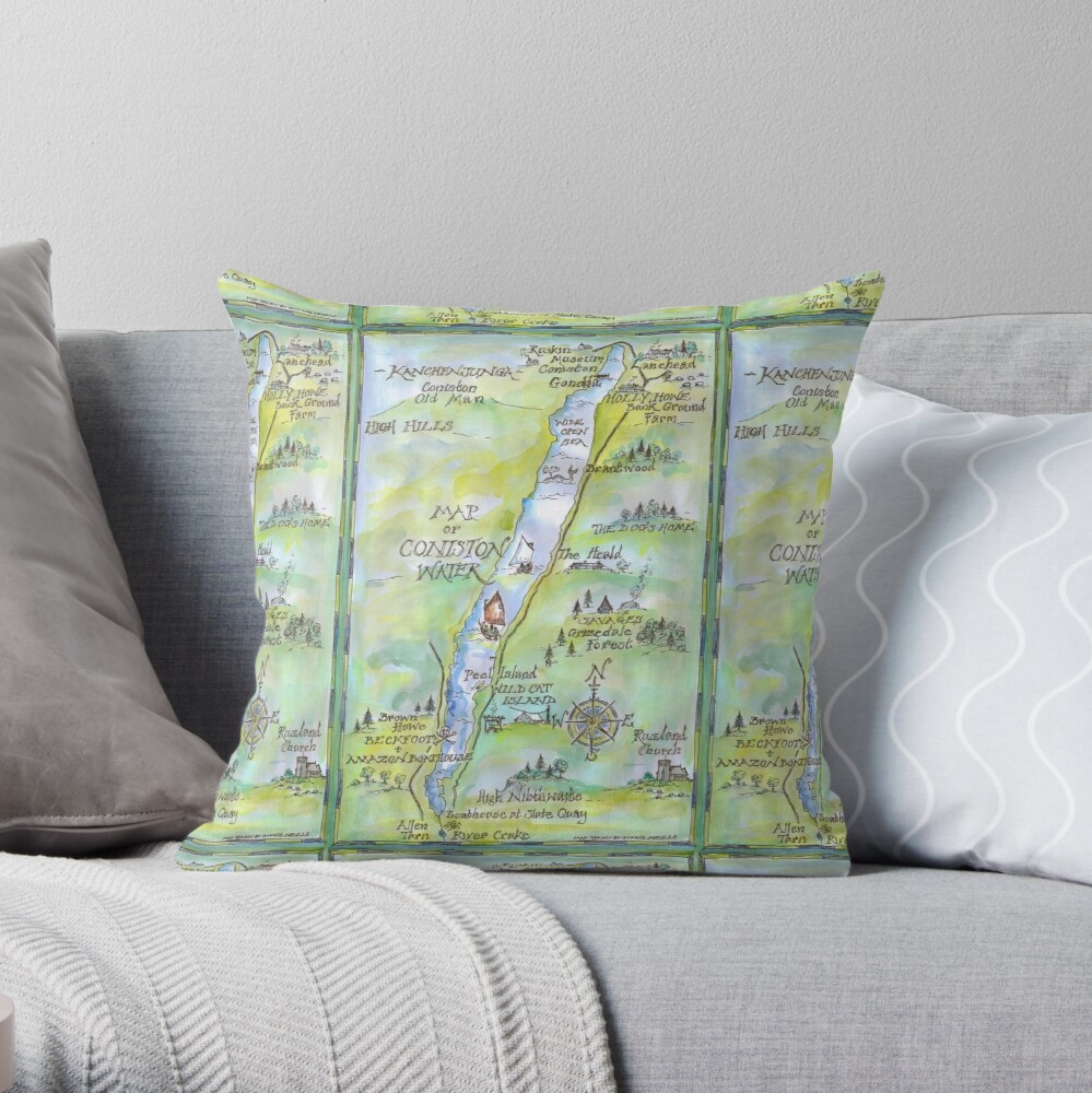 Swallows and Amazons map of Coniston Water -  Throw Pillow