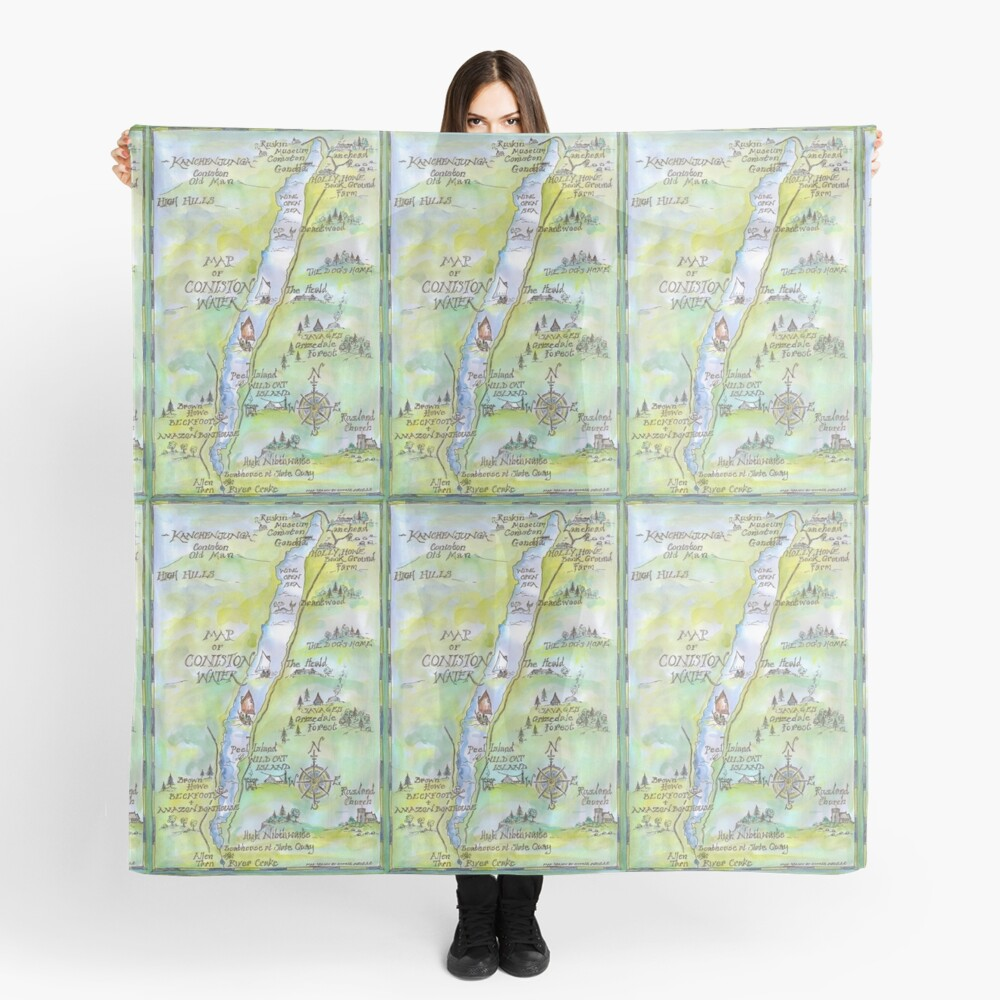 Swallows and Amazons map of Coniston Water -  Scarf