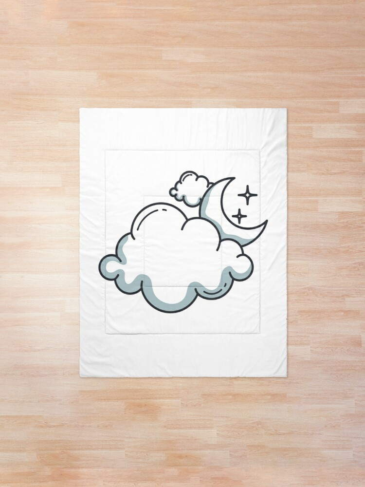 Alternate view of Clouds and moon Comforter