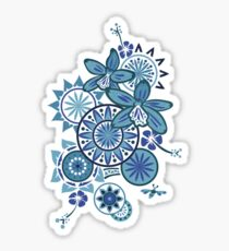 Tropical Blues Orchids & Wheels Sticker