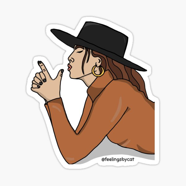 Girl with Hat and Finger Guns Sticker