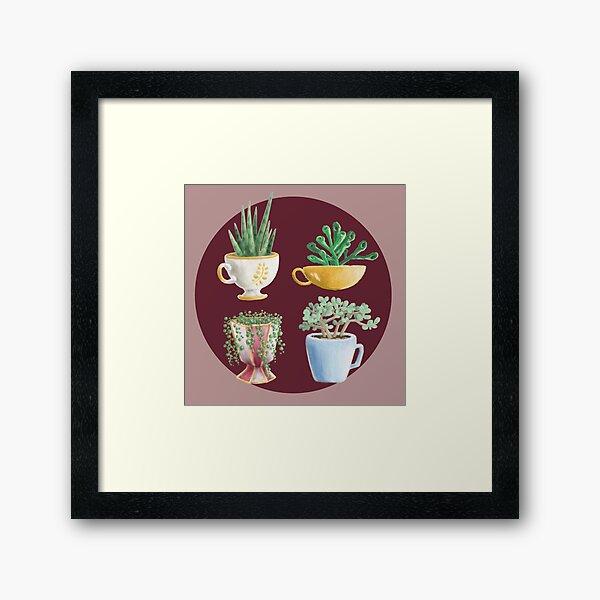 teacup succulents Framed Art Print