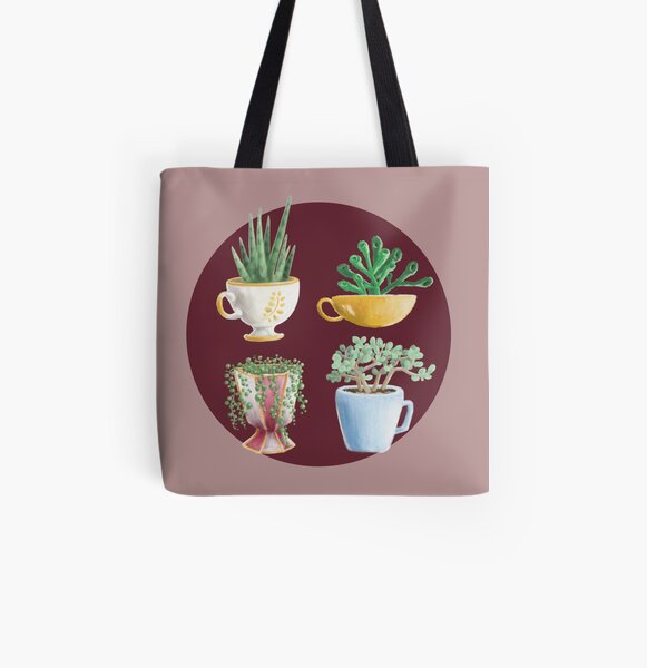 teacup succulents All Over Print Tote Bag